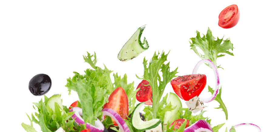 healthy salad ingredients presented playfully
