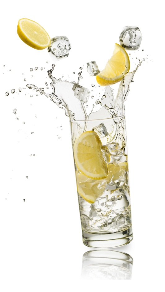 clear glass of lemon water and ice