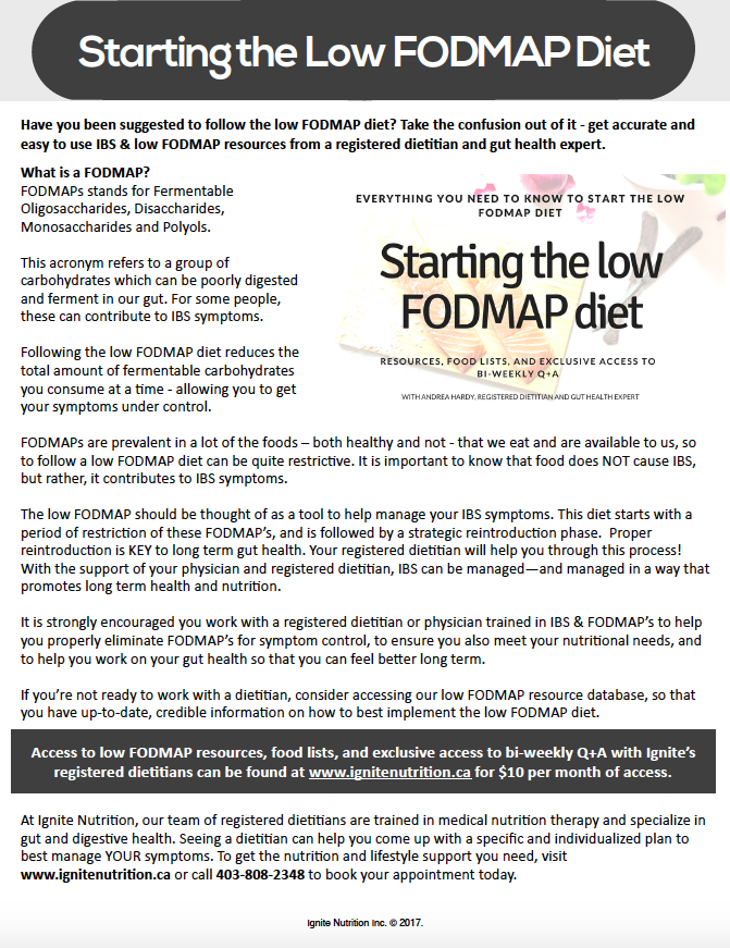 FODMAP Patient Handout. Do you have patients starting on the low FODMAP diet? Keep them up-to-date with credible nutrition information on the low FODMAP diet, and how to implement it properly. Through Ignite Nutrition's gut health expert, Andrea Hardy, Registered Dietitian Nutritionist in Calgary, Alberta (Named Top 10 Dietitians in Calgary!)