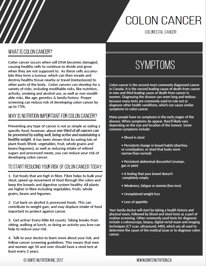 Colon Cancer patient handout - for physician use - to help patients reduce the risk of developing colon cancer after being diagnosed with polyps, or if they have a strong family history. Printable through Ignite Nutrition Inc, in Calgary Alberta