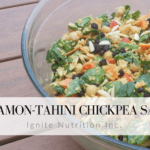 Cinnamon Tahini Chickpea Salad is SUPER easy and delicious for make ahead lunches | Andrea Hardy is a registered dietitian from Calgary Alberta specialized in practical nutrition and behaviour change