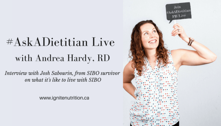 Andrea Hardy registered dietitian and gut health expert interviews Josh Sabourin from SIBO Survivor - What it's like to live & get treated for SIBO