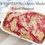 This BEST EVER strawberry rhubarb baked oatmeal is not only delicious, but LOW FODMAP! Make this ahead and have breakfast all week long! | Ignite Nutrition Inc. Andrea Hardy is a registered dietitian from Calgary Alberta specialized in IBS and gut health