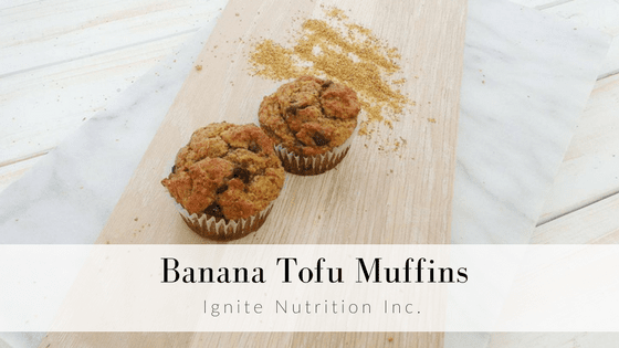 Banana tofu muffins - these muffins are super filling, are easy to make ahead, and freeze super well for busy, on the go snacks! | Ignite Nutrition Inc. Registered Dietitian Nutritionist from Calgary, Alberta