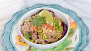 Thai Peanut Noodle Bowl with Fettuccine NuPasta Featured Image