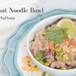 Thai Peanut Noodle Bowl with Fettuccine NuPasta recipe - this recipe takes 20 minutes, is vegan, low carb, high fibre, and gluten free! This is a great weeknight dish. NuPasta is a fantastic choice for those looking for a low carb alternative that ACTUALLY tastes like noodles | Recipe created for NuPasta by Andrea Hardy, registered dietitian from Ignite Nutrition in Calgary, Alberta, Canada