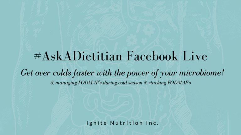 Cold & Flu season is coming - did you know your microbiome can help keep you healthy over the cold season? Watch gut health expert and top 10 calgary dietitian Andrea Hardy talk about how nutrition can help during cold and flu season. We also chat about staying low FODMAP during a cold, and how to stack FODMAP's from Andrea's Instagram-famous carbonara! | Ignite Nutrition is a private practice providing specialized counselling for those with gut disorders.