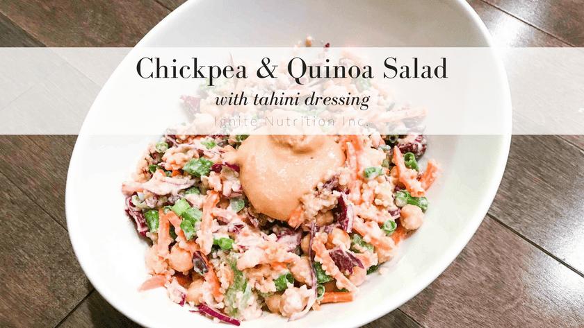 Chickpea & Quinoa Salad with Tahini Dressing