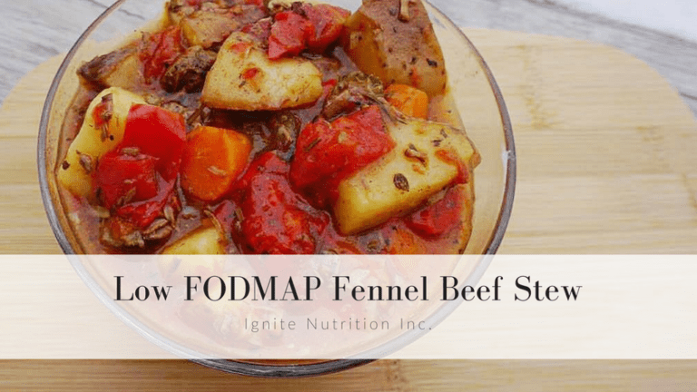 low FODMAP fennel beef stew - no onion or garlic but TONS of Flavour! This super simple crock pot recipe is great for busy nights and the whole family will love it! | Ignite Nutrition Registered Dietitian Nutritionists Specialize in gut health, IBS, and the low FODMAP diet. For more recipes and support head to www.ignitenutrition.ca today!
