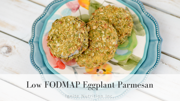 This low FODMAP eggplant parmesan has been adapted from the Oh She Glows Everyday cookbook - for a low FODMAP vegan option that is SUPER tasty and takes very little time! | Andrea Hardy is a registered dietitian nutritionist from Calgary Alberta named top 10 dietitians in Calgary - specializing in gut health, food relationship, and PCOS