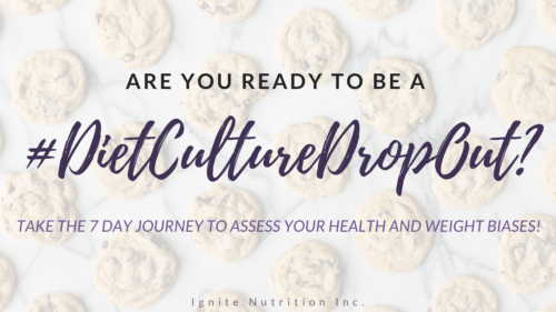 Are you ready to be a diet culture drop out? Take this 7 day self-reflective journey to assess your health and weight biases!