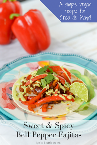 These super simple sweet and spicy bell pepper vegan fajitas are a real Cinco de Mayo crowd pleaser! With avocado cream, divine flavour red bell peppers, and a TON of flavour, they're the perfect dish to please everyone! They can also be made gluten free fajitas. | Ignite Nutrition is a private practice in Calgary Alberta specializing in digestive health! See more recipes at www.ignitenutrition.ca