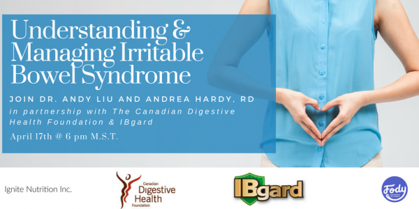 IBS awareness month in Calgary Alberta featuring Calgarys top IBS experts - Andrea Hardy, registered dietitian and Canada's gut health expert, and Dr. Andy Liu Gastroenterology fellow from University of Alberta