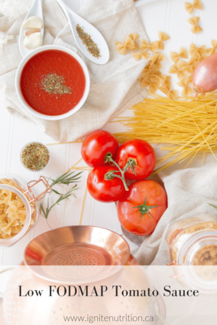 This low FODMAP tomato sauce is great for IBS management and the IBS diet. Ignite Nutrition specializes in digestive issues here in Calgary Alberta and are considered top calgary dietitians!