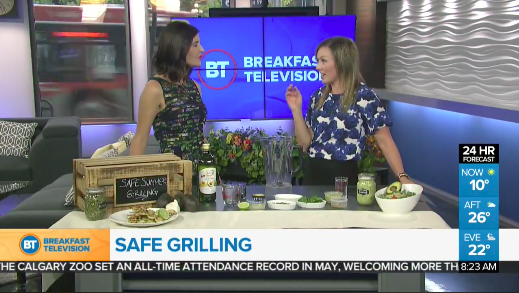 Registered dietitian Andrea Hardy talks on Breakfast Television Calgary about safe summer grilling.