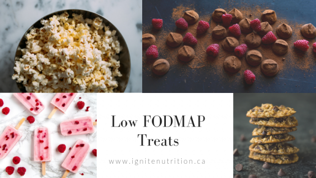 Low FODMAP treats, snack ideas, sweet, salty, and creamy flavoured ideas for low FODMAP diet and IBS diet. Ignite Nutrition Inc. Andrea Hardy Registered Dietitian and gut health expert Calgary Alberta