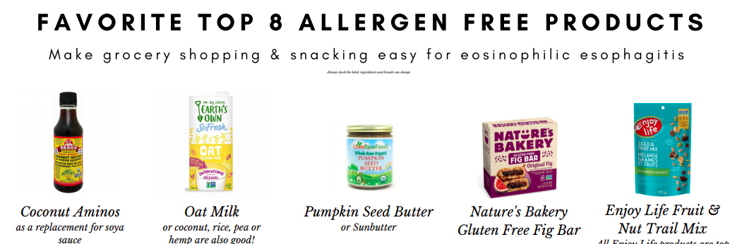Top 8 allergen free favourite grocery store products. Great for EoE or those looking to be top 8 are