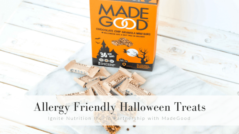 Looking for allergy friendly Halloween treats? MadeGood has you covered with their Chocolate Chip Granola Mini Bars - coming in a 36 pack just in time for halloween! Ignite's Calgary registered dietitians partnered with MadeGood to bring you all the treats, with no tricks!