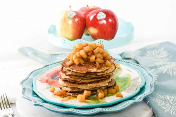 Apple Cinnamon Pancakes - a super simple weekend recipe with ambrosia apples - developed by Calgary top dietitian - Andrea Hardy nutritionist Calgary Alberta