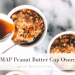 This LOW FODMAP Overnight Peanut Butter Cup Oats by Ignite Nutrition | Calgary | Registered Dietitian | Andrea Hardy RD | Recipe