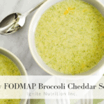 This low FODMAP broccoli cheddar soup is perfect for anyone on an IBS diet or struggling with digestive issues. Created by Ignite Nutrition dietitian nutritionists here in Calgary, Alberta who specialize in the irritable bowel syndrome, the IBS diet, and the low FODMAP diet. Top Calgary dietitians to you with your digestion.