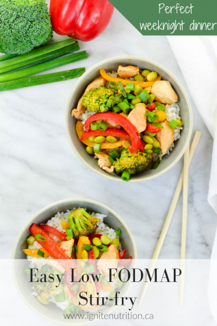 This easy low FODMAP stir-fry will be a staple for weeknight dinners. Fully of flavour and good-for-your gut microbiota veggies - it also makes the perfect lunch leftovers!