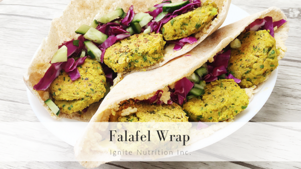 Falafel wrap - perfect make ahead meals & they freeze well! - Ignite Nutrition Calgary's top dietitian nutritionists.