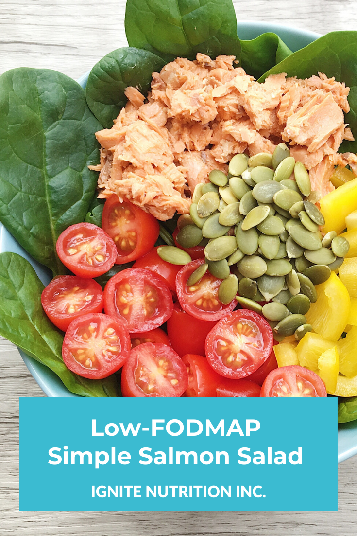 This Low-FODMAP Simple Salmon Salad is perfect for easy lunches on the low FODMAP diet. Work with a Calgary nutritionist on the low FODMAP diet and your IBS today!