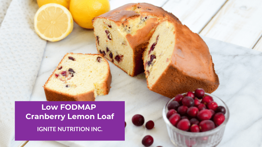 This low FODMAP Cranberry Lemon loaf is the perfect gluten free baked good to snack on during the low FODMAP diet!