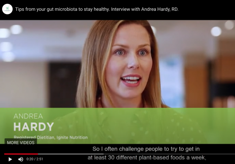 Andrea Hardy, registered dietitian and Canada's gut health expert talks to gut microbiota for health at their annual summit to discuss taking care of your gut microbiota!