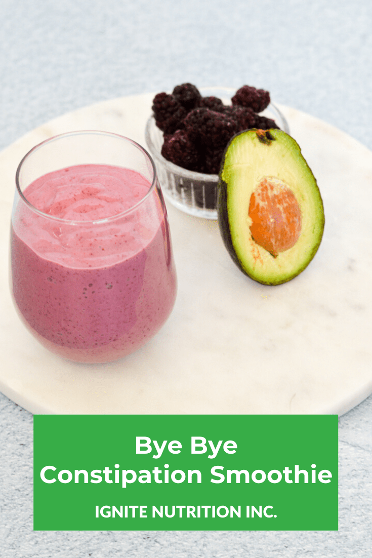 Struggling with constipation? This smoothie provides a ton of ingredients that will soften and speed up your bowels - created by Ignite Nutrition registered dietitians - now Canada-wide!