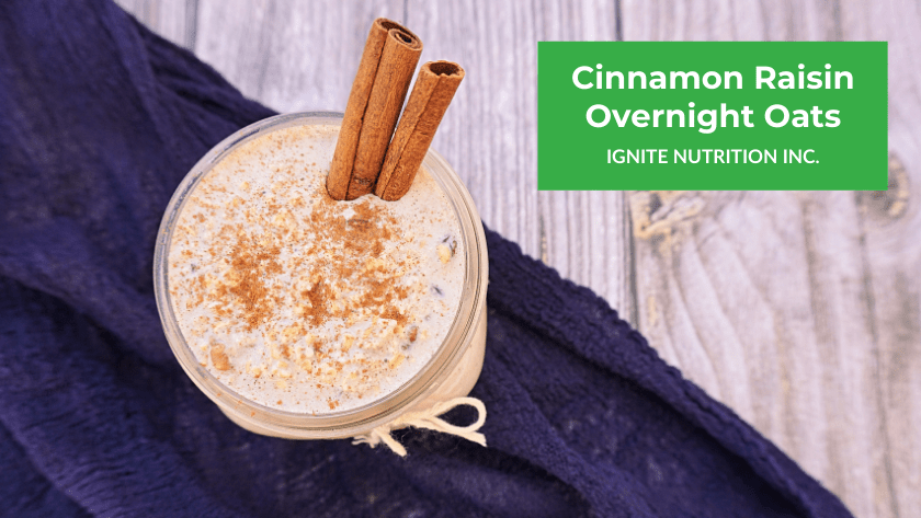 This cinnamon raisin overnight oats is GREAT for gut health because its a source of resistant starch - a prebiotic fibre that feeds your gut microbes! Learn more from Ignite Nutrition Registered Dietitians