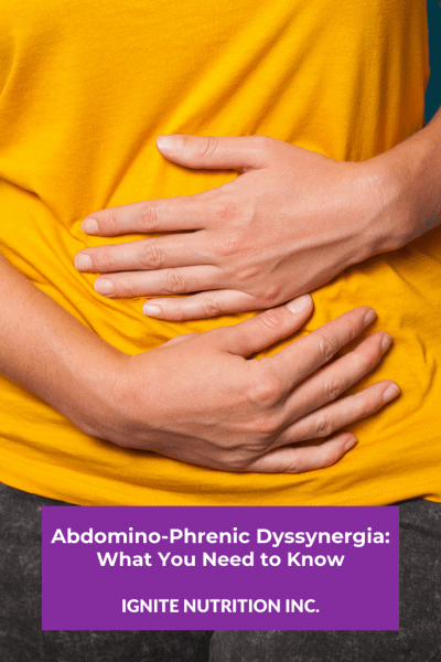 Do you suffer from abdominal bloating and distention? it could be abdomino-phrenic dyssynergia! Working with one of our registered dietitians at Ignite Nutrition in Calgary, Canada can help!